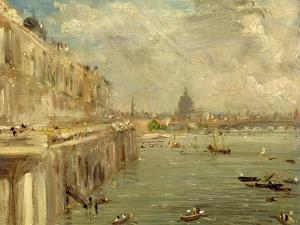 Somerset House Terrace from Waterloo Bridge, C.1819 (Oil on Panel) by John Constable
