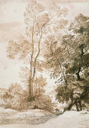 Trees and Deer, after Claude, 1825 (Pen and Ink with Wash on Paper)