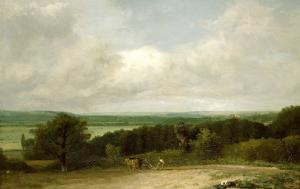 Wooded Landscape with a Ploughman by John Constable