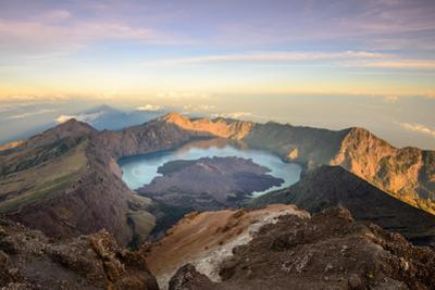 The Mt. Rinjani Crater and a Shadow Cast from the Peak at Sunrise