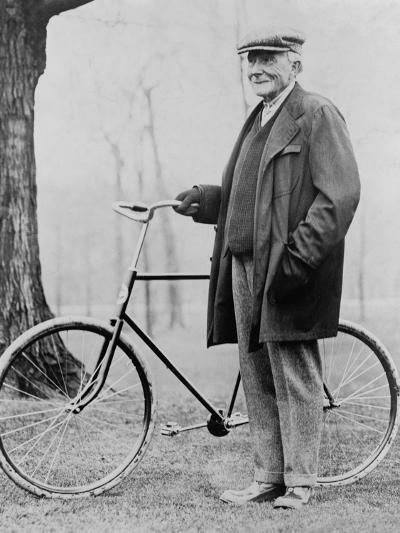 John D. Rockefeller 1939-1937 with His Bicycle after His Retirement, 1913--Photo