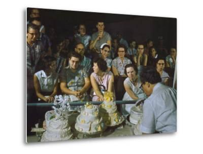 1955: a Man Demonstrates Cake Frosting Techniques at the Iowa State Fair, Des Moines, Iowa