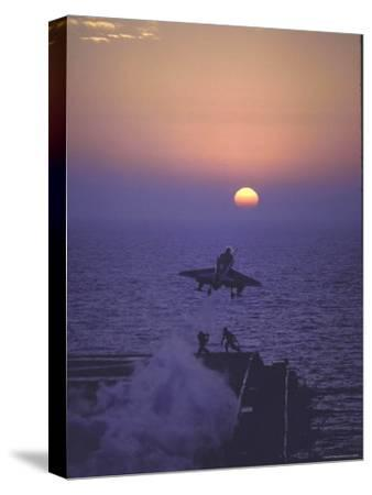 A4D Skyhawk Taking Off From USS Independence at Sunrise over Mediterranean Sea