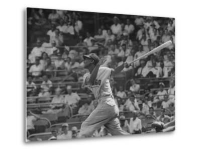 Action Shot of Chicago Cub's Ernie Banks, Following Direction of Baseball Resulting from His Hit