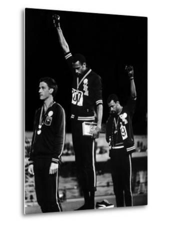 African American Track Star Tommie Smith, John Carlos After Winning Gold and Bronze Olympic Medal