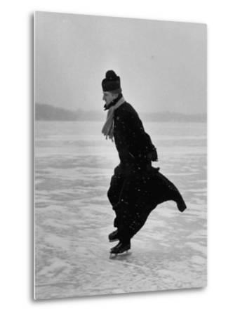 Catholic Priest Ice Skating. from Photo Essay Re Polish American Community