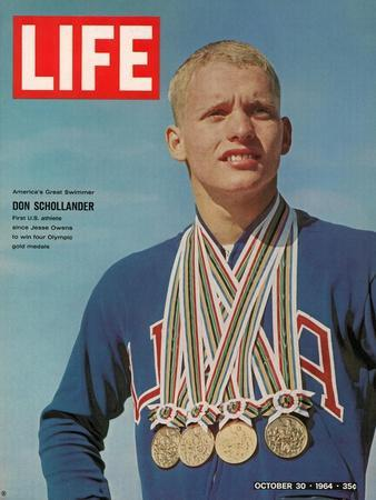 Don Schollander with his Four Olympic Gold Medals Won in Swimming Events, October 30, 1964