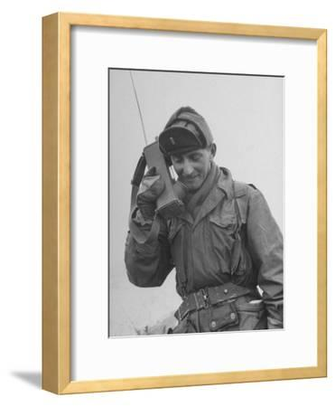 Gi Talking on Communications Radio During the Korean Civil War