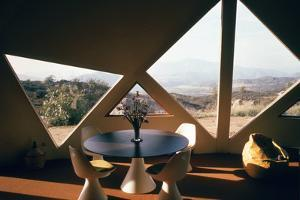 Interior View of the Living Room Interior of a Geodesic Dome House by John Dominis