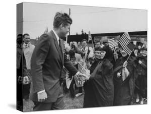 Irish Schoolchildren Waving Flag as They Greet President John F. Kennedy by John Dominis
