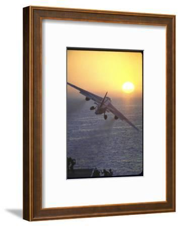 Jet Plane, A4D Skyhawk, Taking Off From USS Independence at Sunrise over Mediterranean Sea