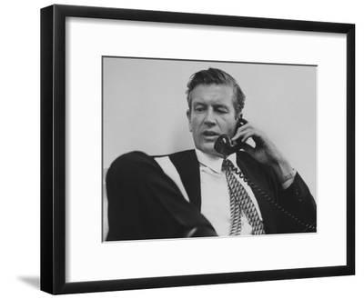 Mayor John V. Lindsay Talking on the Telephone in His Office