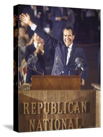Politician Richard Nixon Waving From Platform at Republican National Convention