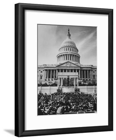 Pres. Lyndon B. Johnson Taking Oath of Office During Inauguration Ceremonies