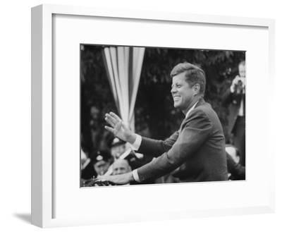 President John F. Kennedy, Waving at Crowd During Speech