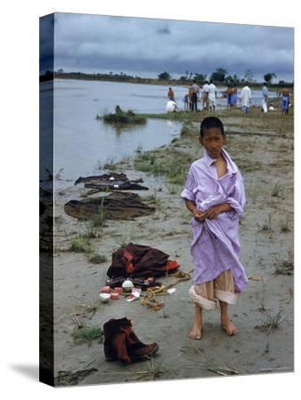 Tibetan Refugees on Beach at Misamari Camp