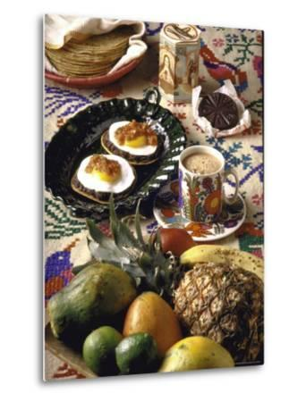Traditional Mexican Breakfast: Fried Tortillas, Chocolate, Huevos Rancheros and Fresh Fruit