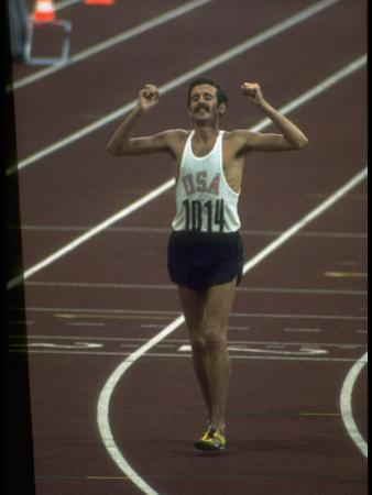 US Athlete Frank Shorter after Winning a Marathon Race at the Summer Olympics