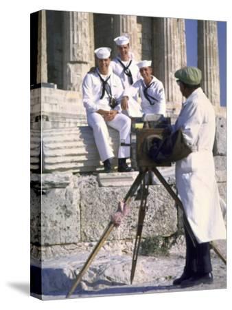 US Sailors Taking Photo at Greek Ruins
