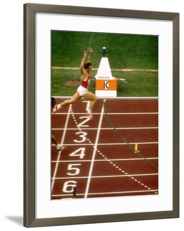 Valeri Borsov of the Soviet Union Winning the 100 Meter Finals During the Summer Olympics