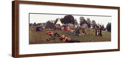Young People Camping Out with Tents on a Grassy Hillside, During the Woodstock Music and Art Fair