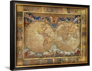 World maps framed posters artwork for sale posters and prints at world map in watercolor framed art print 15499 terrarum orbisjohn douglas gumiabroncs Images