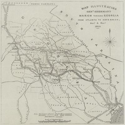 Map Illustrating General Sherman's March Through Georgia from Atlanta to Savannah