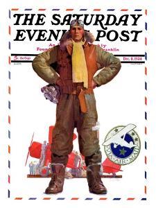 """Airmail Pilot,"" Saturday Evening Post Cover, December 8, 1934 by John E. Sheridan"