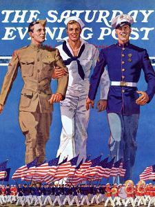 """Army, Navy and Marines,"" Saturday Evening Post Cover, November 13, 1937 by John E^ Sheridan"