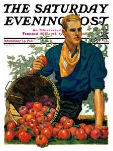 """Bushel of Apples,"" Saturday Evening Post Cover, November 14, 1931 by John E. Sheridan"