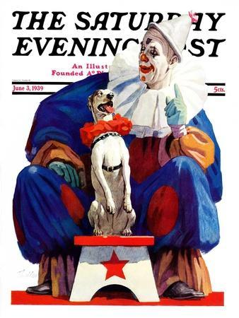 """""""Circus Clown and Pooch,"""" Saturday Evening Post Cover, June 3, 1939"""