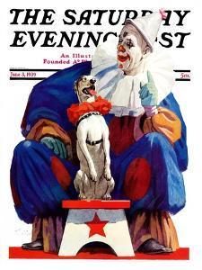 """Circus Clown and Pooch,"" Saturday Evening Post Cover, June 3, 1939 by John E. Sheridan"