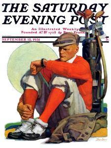 """Golfer Kept Waiting,"" Saturday Evening Post Cover, September 12, 1931 by John E^ Sheridan"