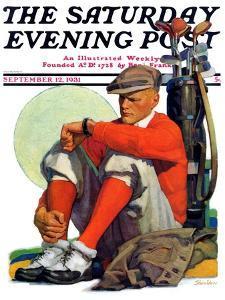 """Golfer Kept Waiting,"" Saturday Evening Post Cover, September 12, 1931 by John E. Sheridan"
