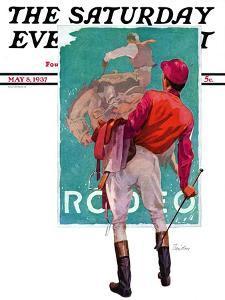 """Jockey Looks at Poster,"" Saturday Evening Post Cover, May 8, 1937 by John E. Sheridan"