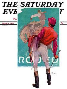 """Jockey Looks at Poster,"" Saturday Evening Post Cover, May 8, 1937 by John E^ Sheridan"