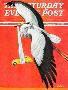 """New Born Automobile,"" Saturday Evening Post Cover, November 12, 1938 by John E. Sheridan"