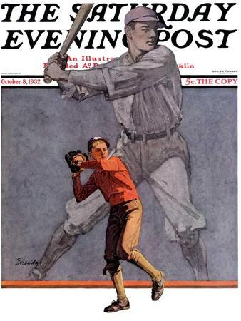 """""""Shadow Batter,"""" Saturday Evening Post Cover, October 8, 1932"""