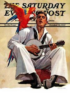 """""""Singing Sailor and Parrot,"""" Saturday Evening Post Cover, October 16, 1937 by John E. Sheridan"""