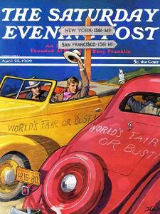 """""""World's Fair or Bust,"""" Saturday Evening Post Cover, April 22, 1939 by John E. Sheridan"""