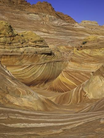Colorful sandstone layers of The Wave at Coyote Buttes