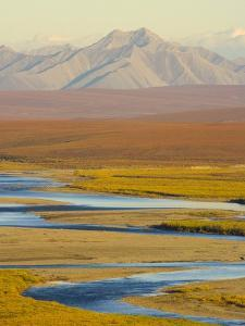 Mountains and Winding River in Tundra Valley by John Eastcott & Yva Momatiuk