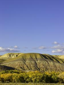Sandstone buttes and cottonwoods in fall in Wyoming by John Eastcott & Yva Momatiuk