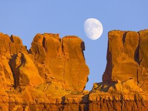 Sandstone Buttes and Moon by John Eastcott & Yva Momatiuk