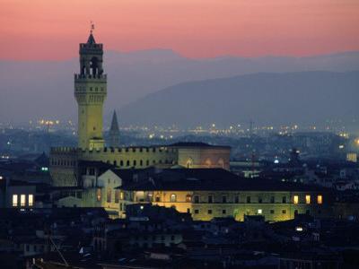 City Skyline, with Palazzo Vecchio, Illuminated at Dusk, Florence, Tuscany, Italy