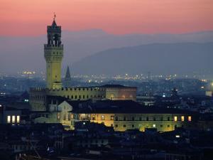 City Skyline, with Palazzo Vecchio, Illuminated at Dusk, Florence, Tuscany, Italy by John Elk III