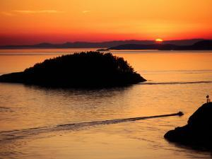 Deception Pass at Sunset from Lighthouse Trail, Whidbey Island, Washington by John Elk III