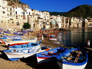 Fishing Boats on Beach at Seaside Resort, Cefalu, Italy by John Elk III