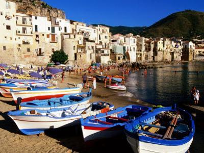 Fishing Boats on Beach at Seaside Resort, Cefalu, Italy
