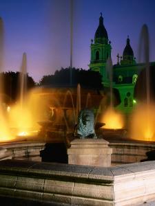 Fountain on Plaza Las Delicias, Ponce, Puerto Rico by John Elk III